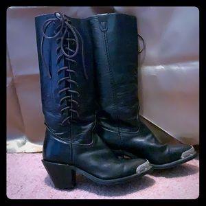 Harley Davidson Black, Silver tip boots 51/2 M